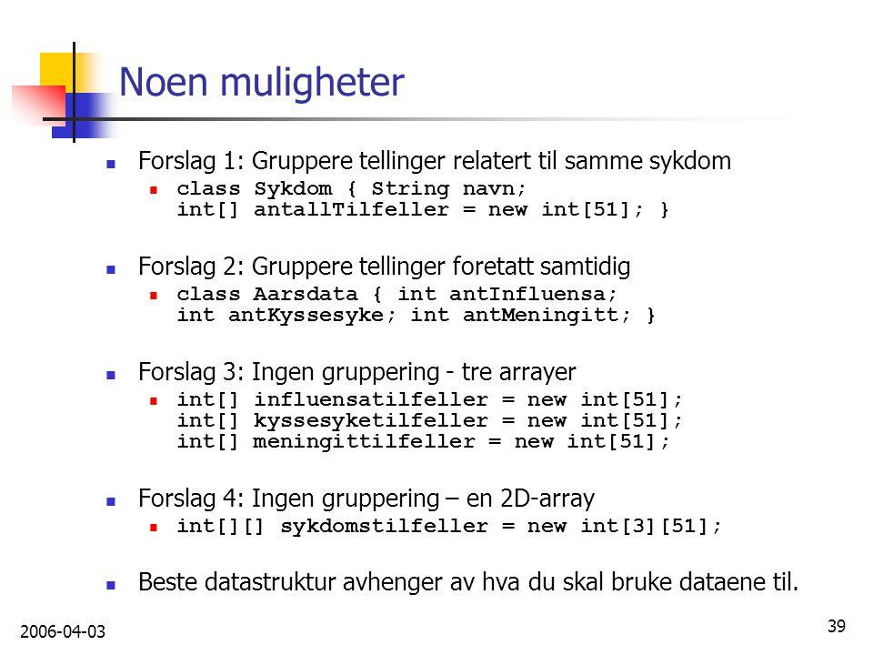 Noen muligheter Forslag 1: Gruppere tellinger relatert til samme sykdom. class Sykdom { String navn; int[] antallTilfeller = new int[51]; }